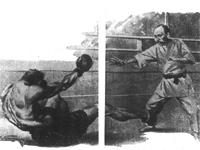 倒れる巨人ボクサー